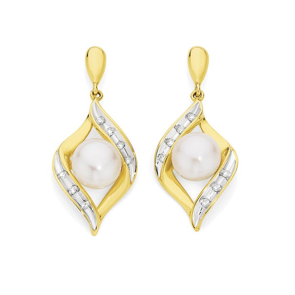 9ct Gold Cultured Fresh Water Pearl & Diamond Crossover Drop Earrings