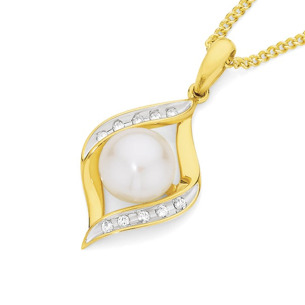 9ct Gold Cultured Fresh Water Pearl & Diamond Crossover Pendant