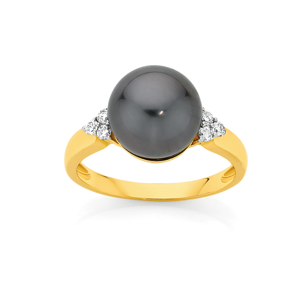 9ct Gold Cultured Tahitian Pearl & Diamond Ring