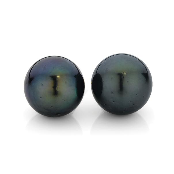 9ct Gold Cultured Tahitian Pearl Stud Earrings