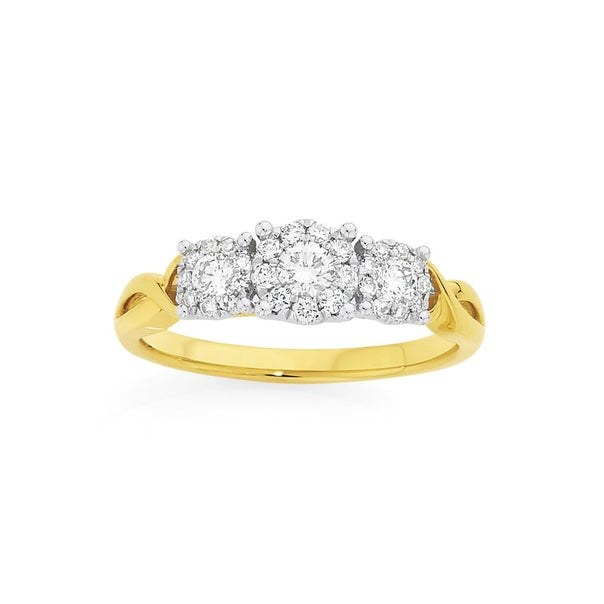 9ct Gold Diamond Cluster Trilogy Ring