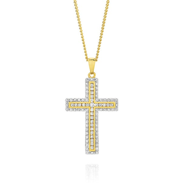 9ct Gold Diamond Cross Pendant