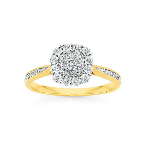 9ct Gold Diamond Cushion Cluster Ring