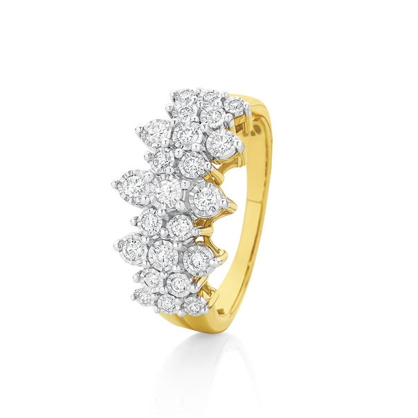 9ct Gold Diamond Fancy Cluster Dress Ring