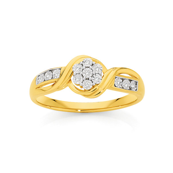 9ct Gold Diamond Miracle Set Flower Twist Ring