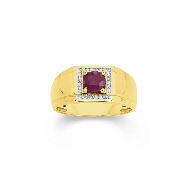 9ct Gold Diamond & Natural Ruby Gents Ring