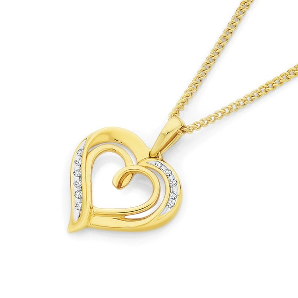 9ct Gold Diamond Open Double Heart Pendant