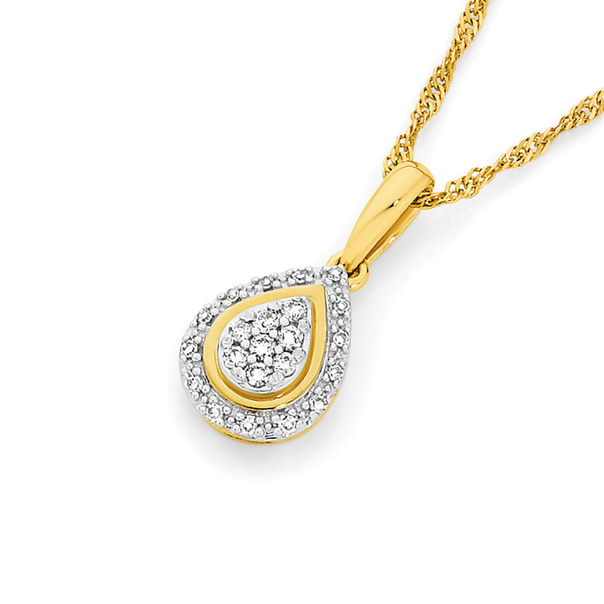 9ct Gold Diamond Pear Shape Drop Pendant