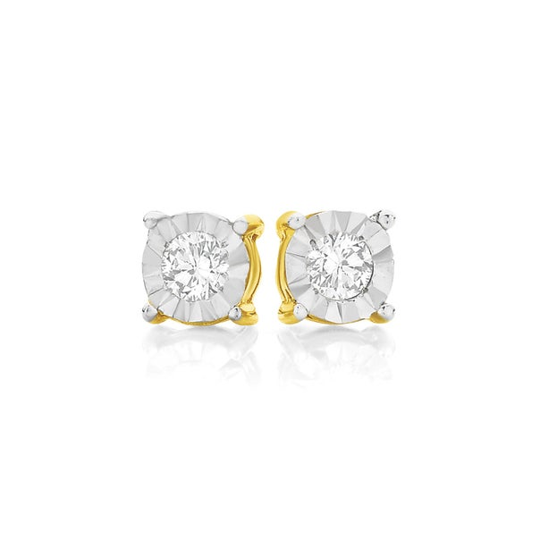 9ct Gold Diamond Round Brilliant Cut Miracle Plate Stud Earrings