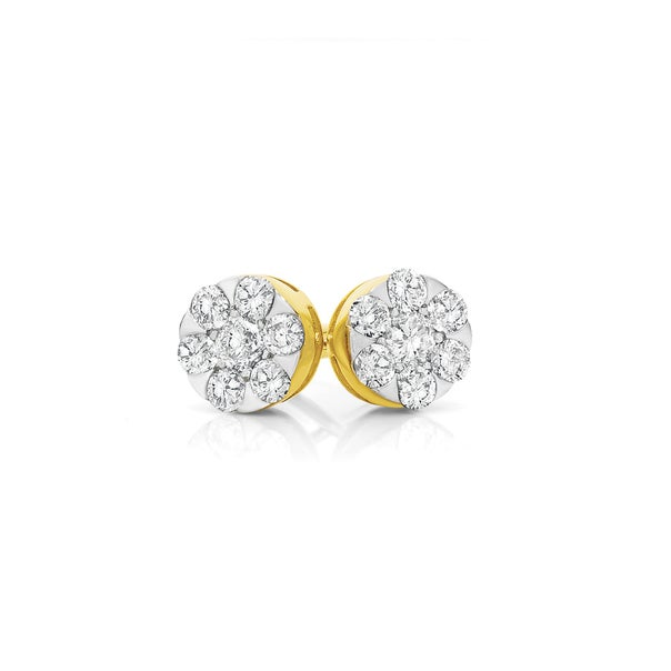 9ct Gold Diamond Round Cluster Stud Earrings