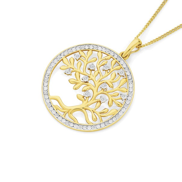 9ct Gold Diamond Tree of Life Pendant