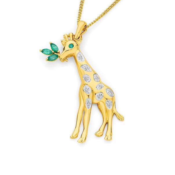 9ct Gold Emerald & Diamond Giraffe Pendant