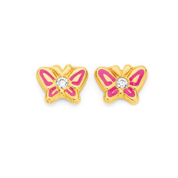 9ct Gold Enamel & CZ Butterfly Stud Earrings