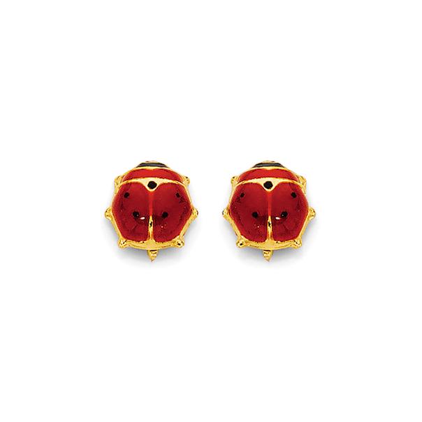 9ct Gold Enamel Lady Bug Stud Earrings