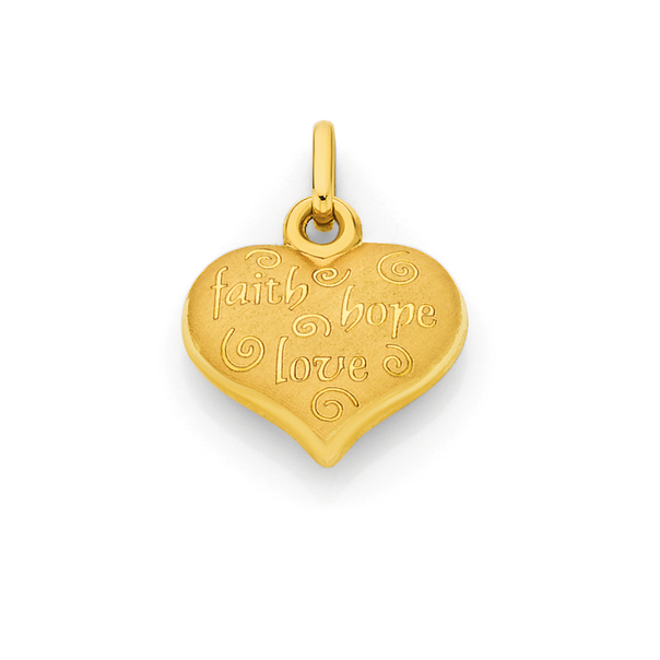 9ct Gold Faith Hope & Love Heart Pendant