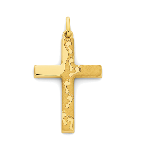 9ct Gold Footprints Cross