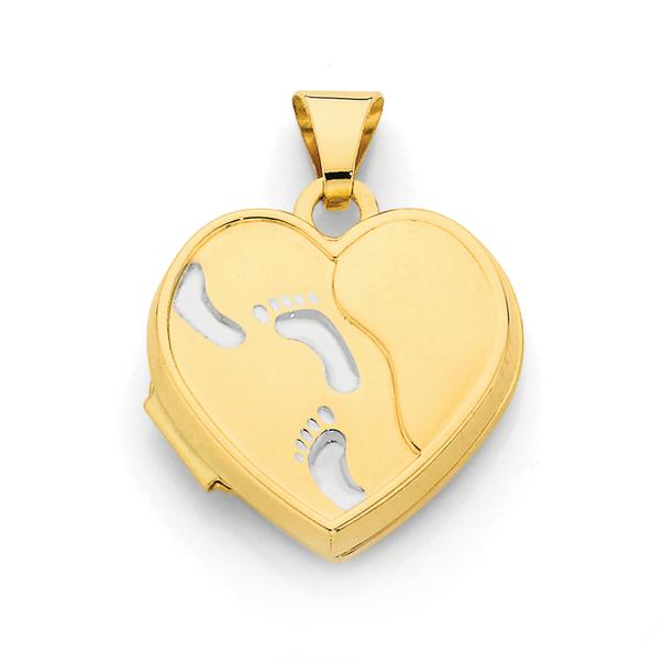 9ct Gold Footprints Heart Locket