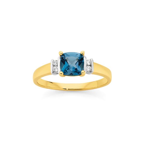 9ct Gold London Blue Topaz & Diamond Ring