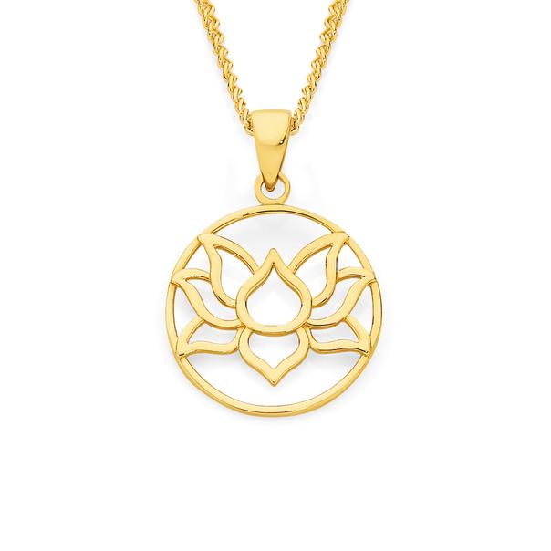 9ct Gold Lotus Flower Pendant