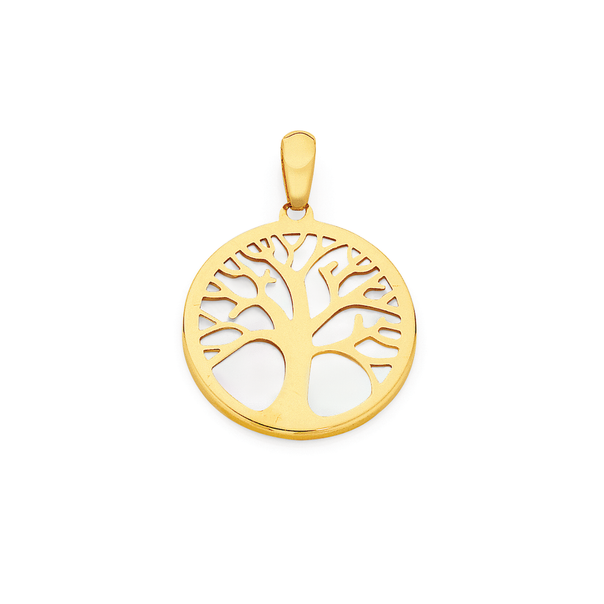 9ct Gold Mother of Pearl Tree of Life Pendant