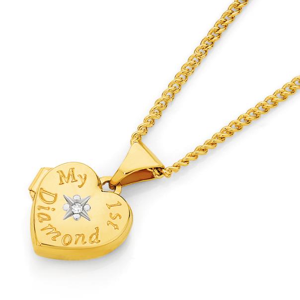 9ct Gold My First Diamond Heart Locket