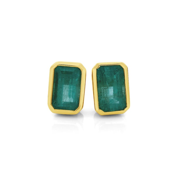9ct Gold Natural Emerald Stud Earrings