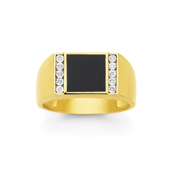 9ct Gold Onyx & Diamond Square Top Ring