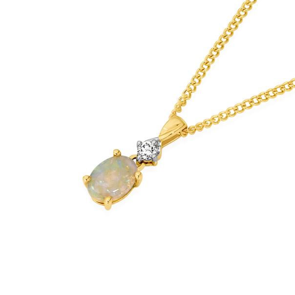 9ct Gold Opal & Diamond Pendant