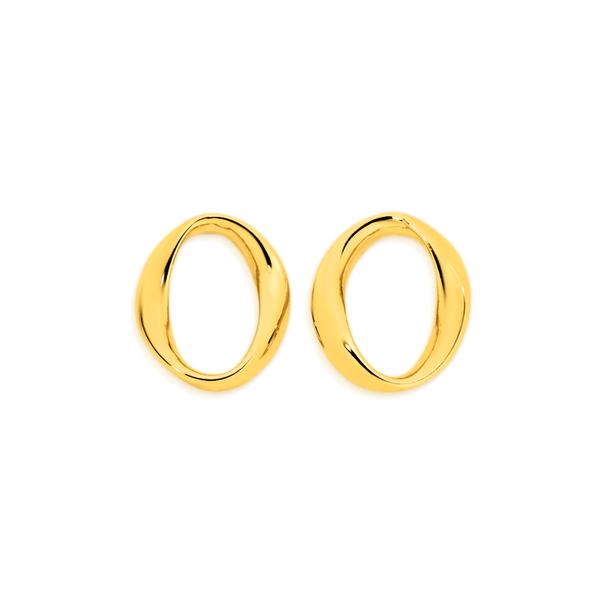 9ct Gold Oval Twist Stud Earrings