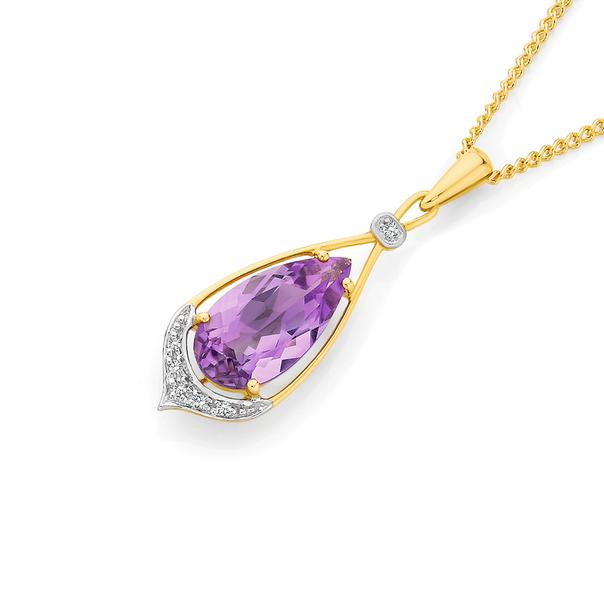 9ct Gold Pink Amethyst & Diamond Pendant