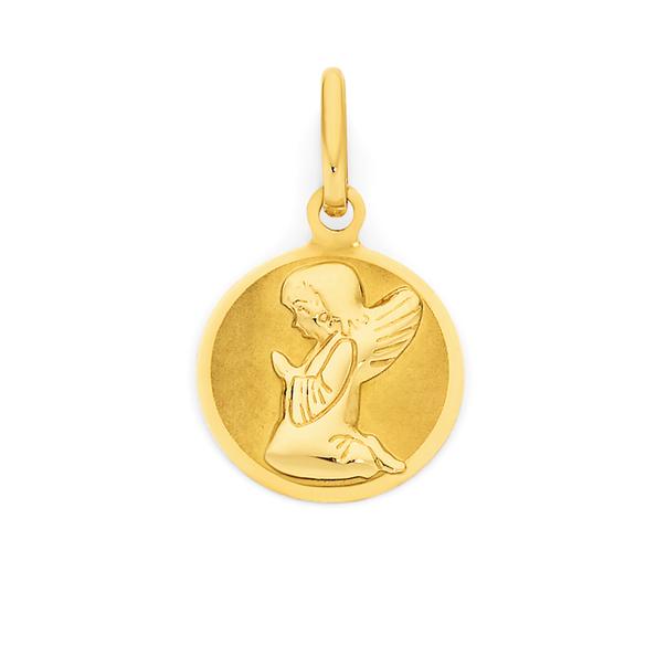 9ct Gold Praying Angel Disc Pendant