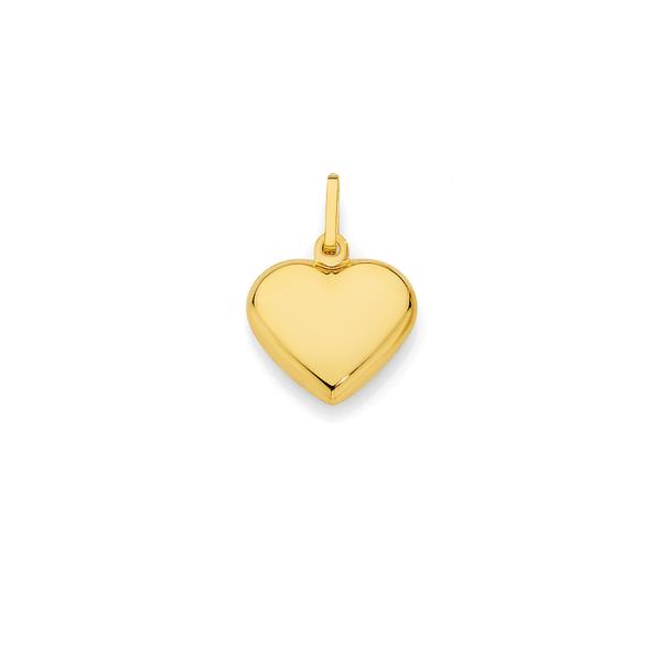 9ct Gold Puff Heart Charm