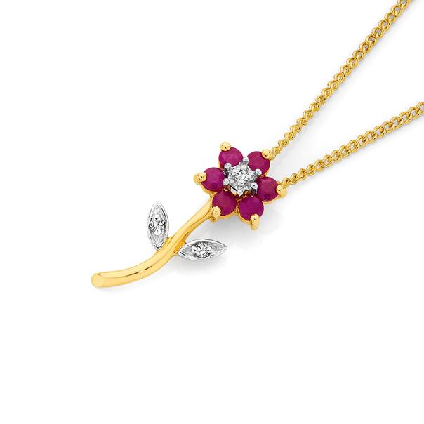 9ct Gold Ruby & Diamond Flower Pendant