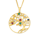 9ct Gold Ruby, Emerald, Sapphire & Diamond Tree of Life Pendant