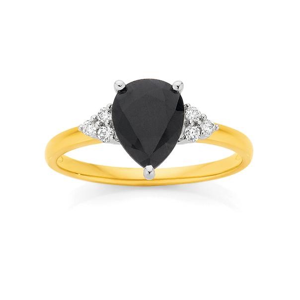 9ct Gold Sapphire & Diamond Pear Shape Ring