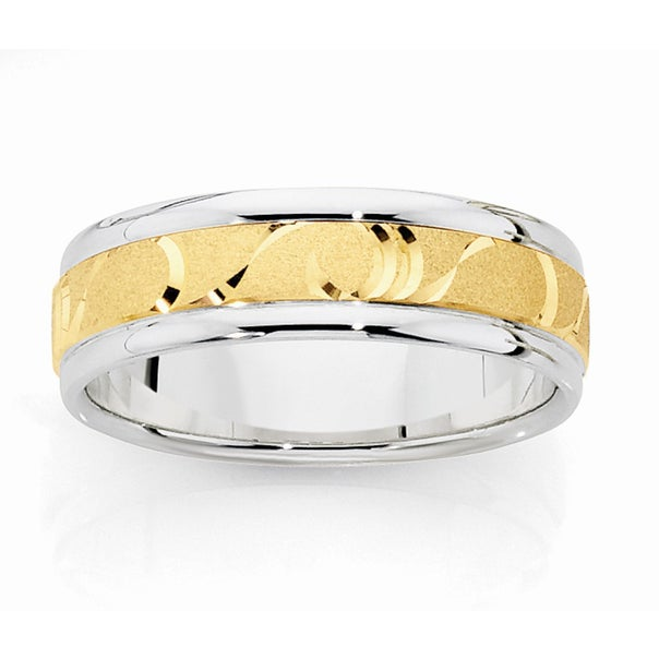 9ct Gold & Silver Mens Wave Patterned Ring