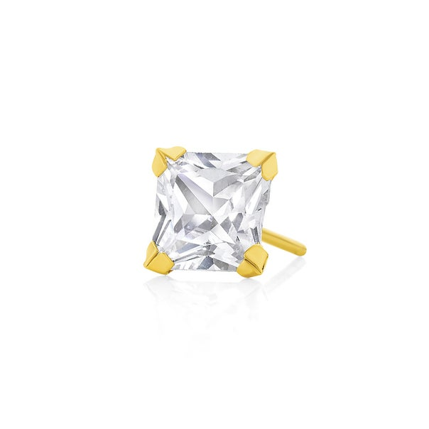 9ct Gold Square Cubic Zirconia Single Stud Earring
