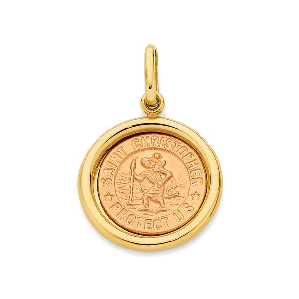 9ct Gold St Christopher Medallion Pendant