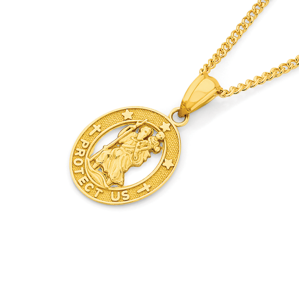9ct Gold St Christopher Oval Medal Pendant