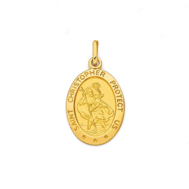 9ct Gold St Cristopher Medallion Pendant