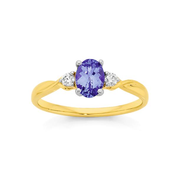 9ct Gold Tanzanite & Diamond Oval Twist Ring