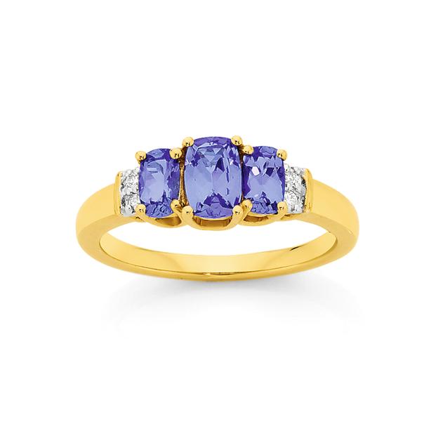 9ct Gold Tanzanite & Diamond Trilogy Dress Ring