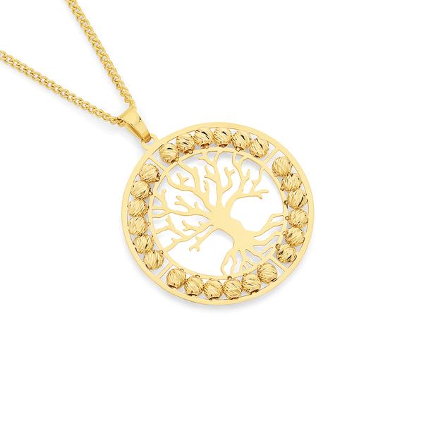9ct Gold Tree of Life Circle Pendant