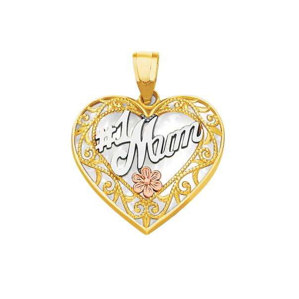 9ct Gold Tri Tone #1 Mum Heart Pendant
