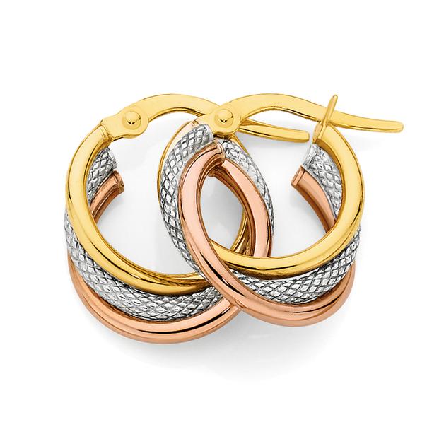 9ct Gold Tri Tone 10mm Plain & Pattern Triple Hoop Earrings