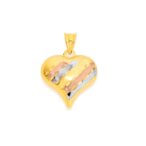 9ct Gold Tri Tone 16mm Diamond-cut Puff Heart Pendant