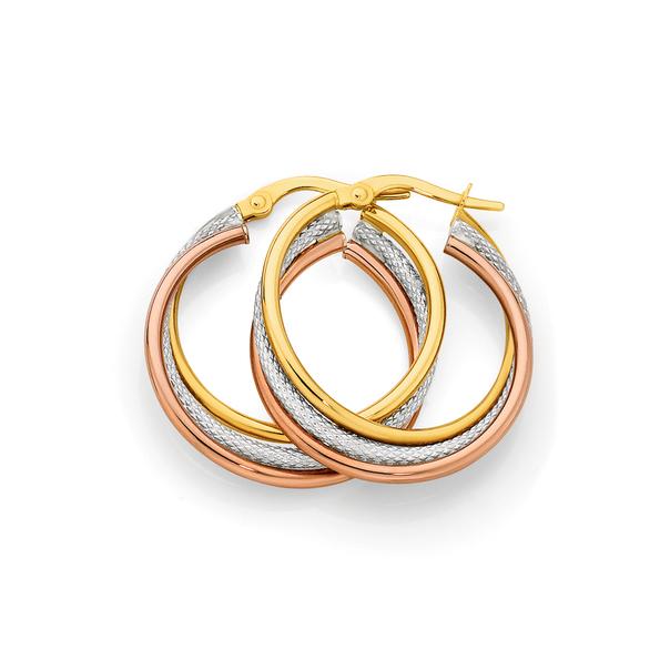 9ct Gold Tri Tone 20mm Plain & Pattern Triple Hoop Earrings