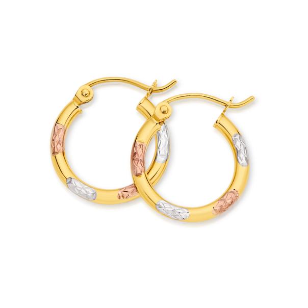 9ct Gold Tri Tone 2x10mm Diamond-cut Hoop Earrings