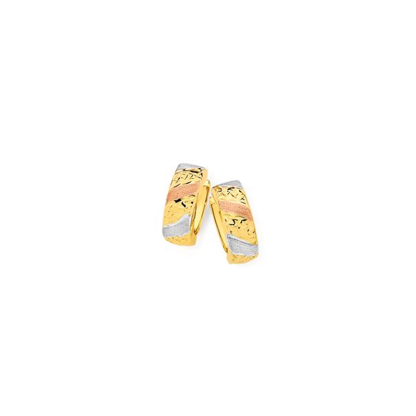 9ct Gold Tri Tone 4x10mm Huggie Earrings
