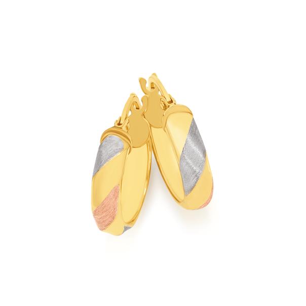 9ct Gold Tri Tone 4x10mm Twist Hoop Earrings